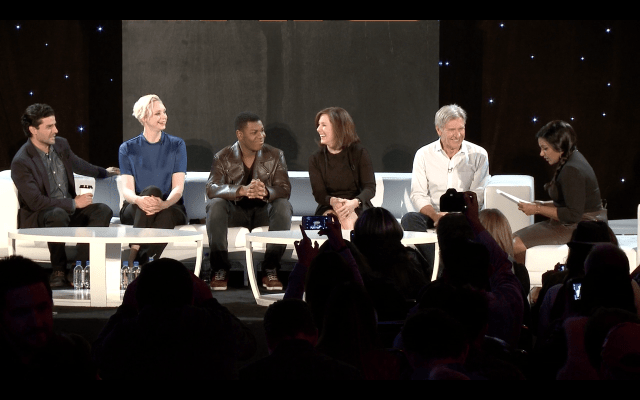 Oscar Isaac, Gwendoline Christie, John Boyega, Kathleen Kennedy and Harrison Ford with moderator Mindy Kaling.