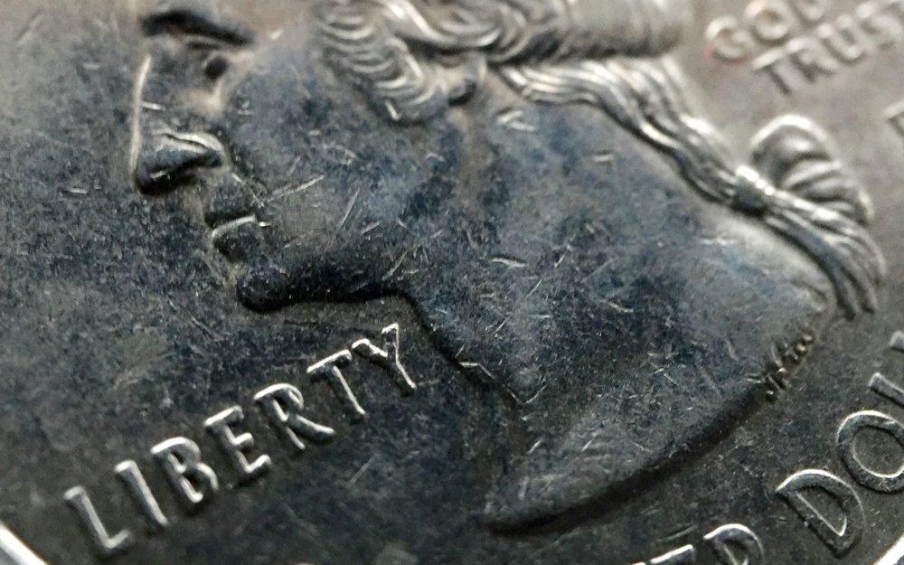 Cropped macro shot of quarter.