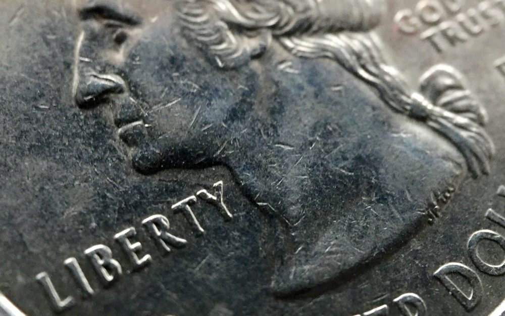 Cropped macro shot of quarter.