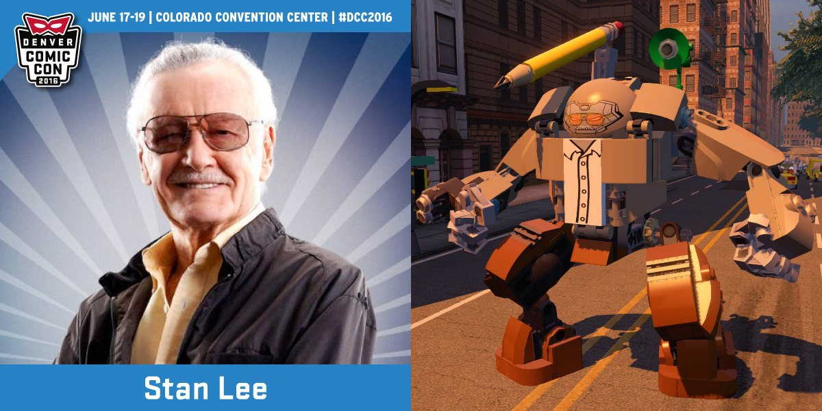 "Publicity still of Mr. Lee via denvercomiccon.com, game footage of ""The Stanbuster"" ©The LEGO Group, ©MARVEL, ©WBEI"