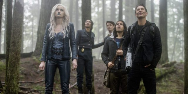 "The Flash -- ""Escape From Earth-2"" -- Image FLA214b_0224b -- Pictured (L-R): Danielle Panabaker as Killer Frost, Candice Patton as Earth 2 Iris West, Grant Gustin as Earth 2 Barry Allen, Carlos Valdes as Cisco Ramon, and Tom Cavanagh as Harrison Wells -- Photo: Bettina Strauss/The CW -- �© 2016 The CW Network, LLC. All rights reserved."