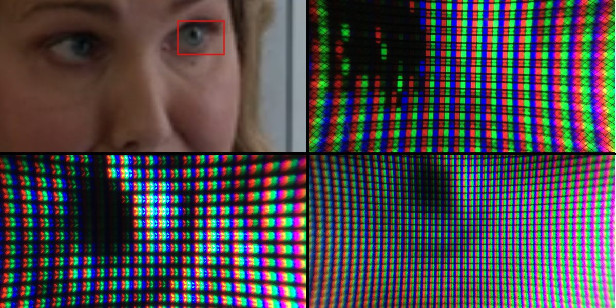 A collage showing a woman's face, then three zoomed in photos of her eye on Plasma, LCD, and a monitor, showing the individual pixels lighting up.
