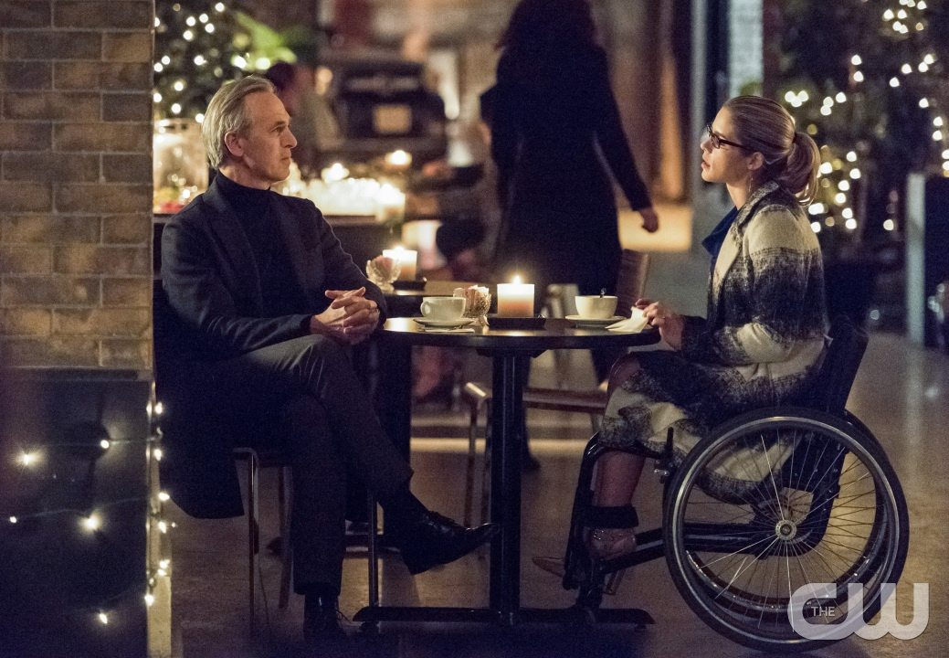 "Arrow -- ""Sins of the Father"" -- Image AR413A_0187b.jpg -- Pictured (L-R): Tom Amandes as Noah Kuttler / The Calculator and Emily Bett Rickards as Felicity Smoak -- Photo: Dean Buscher/ The CW -- �© 2016 The CW Network, LLC. All Rights Reserved."