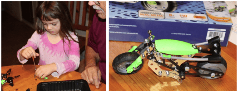 It took three generations as many hours to get this little Meccano motorcycle like we wanted it. Not a minute was wasted. Images: Lisa Kay Tate