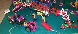 Mechanical dinosaur and car