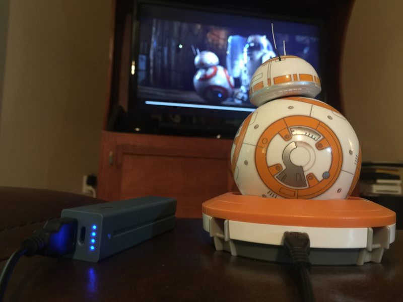 BB-8 watching TFA with me while staying powered up (Photo by Skip Owens)