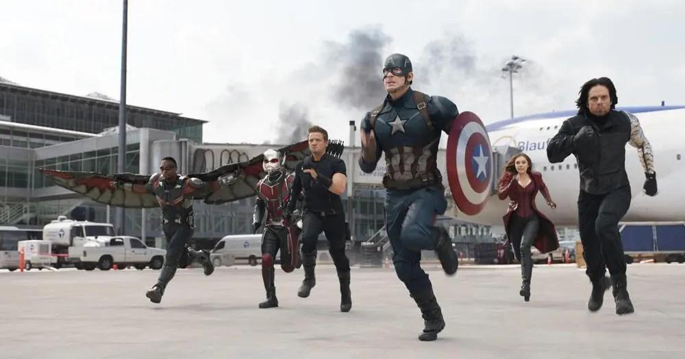 Team Captain America: Falcon (Anthony Mackie), Ant-Man (Paul Rudd), Hawkeye (Jeremy Renner), Captain America (Chris Evans), Scarlet Witch (Elizabeth Olsen), and Bucky Barnes (Sebastian Stan) Photo Credit: Film Frame © Marvel 2016