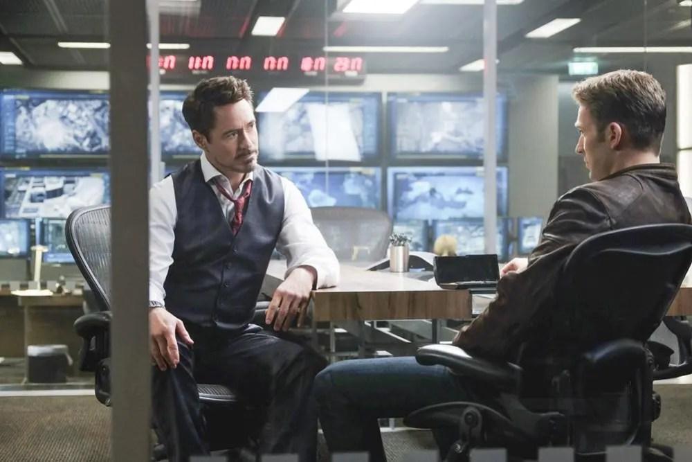 Tony Stark and Steve Rogers discuss politics. Photo Credit: Zade Rosenthal..© Marvel 2016