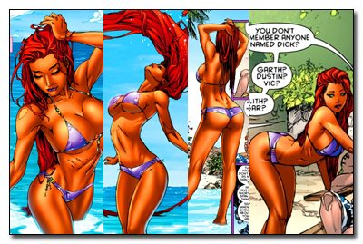 Starfire in her original appearance in DC new 52. DC later revised her. copryight DC Comics.
