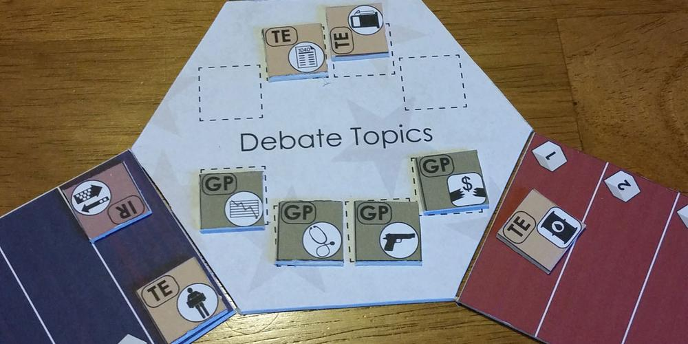 Campaign Trail prototype debate board. Image by Rob Huddleston.