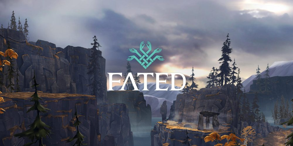 The FATED logo on a scenery backdrop of forest and mountains.