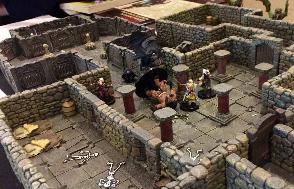 The delves use great 3D terrain like this Dwarven Forge dungeon. Photo by Ryan Hiller.