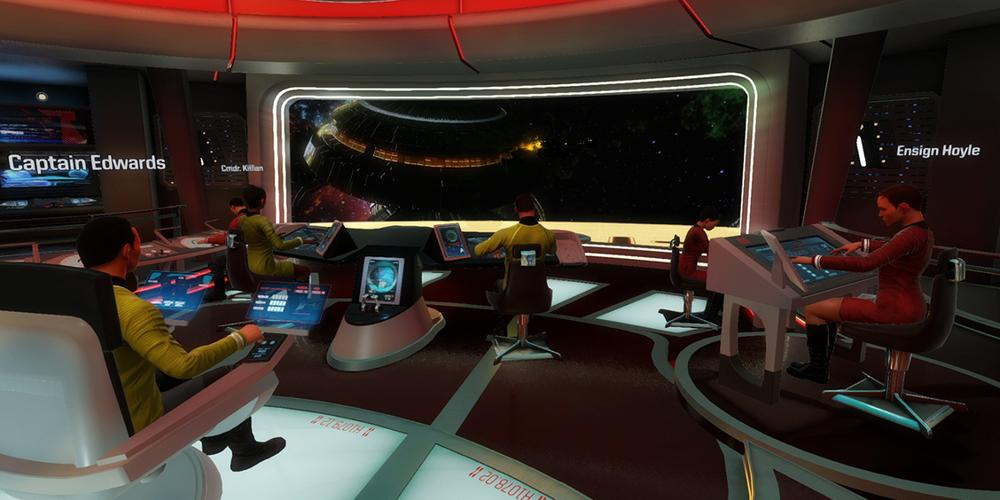 Screen shot from Star Trek: Bridge Crew. Perspective from the bridge of a 'Star Trek' starship, looking out the main screen over the heads of the other station member.