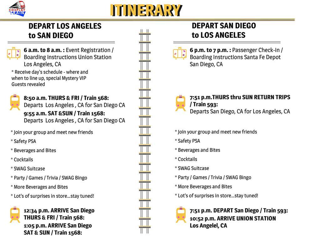 Cosplay Train Itinerary