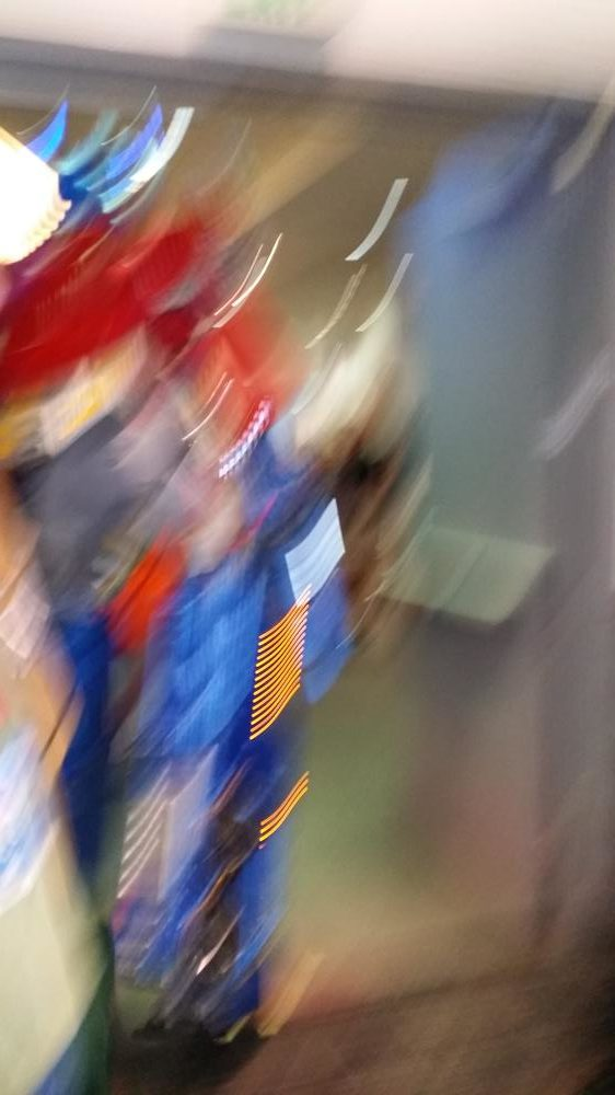 A blurry photo of Optimus Prime as I begged him to stand still long enough to capture his image.
