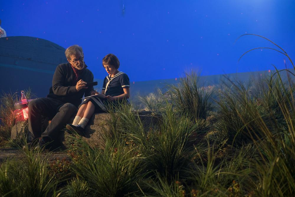 Director Steven Spielberg and Ruby Barnhill on the set of Disney's THE BFG, based on the best-selling book by Roald Dahl.