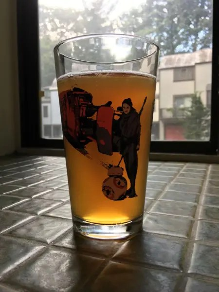 """""""A Bretter Day"""" Ale looks great in a 'Force Awakens' pint glass"""