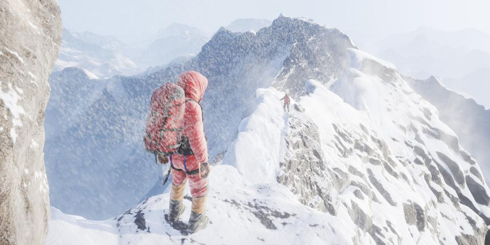 A climber at the top of Hillary Step looks back down at the next person to ascend. Snow blows throughout the scene.