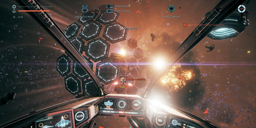 View from within the cockpit of a fighter in 'Everspace'. A solar array is in the frame, with explosions behind it.