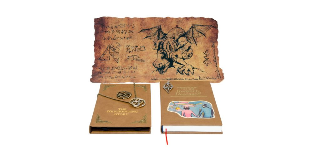 Cthulhu parchment, Auryn Necklace and iPad Mini Cover (The Neverending Story), Skyrim Dragonborn pendant, The Handbook for the Recently Deceased sketch book (Beetlejuice)