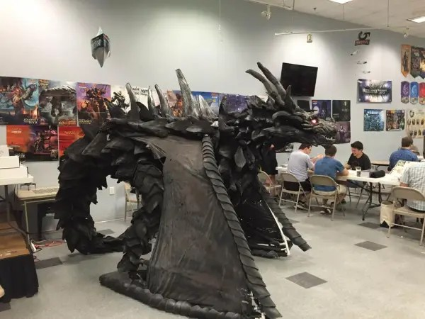 That's no sculpture--there's a cosplayer in there!