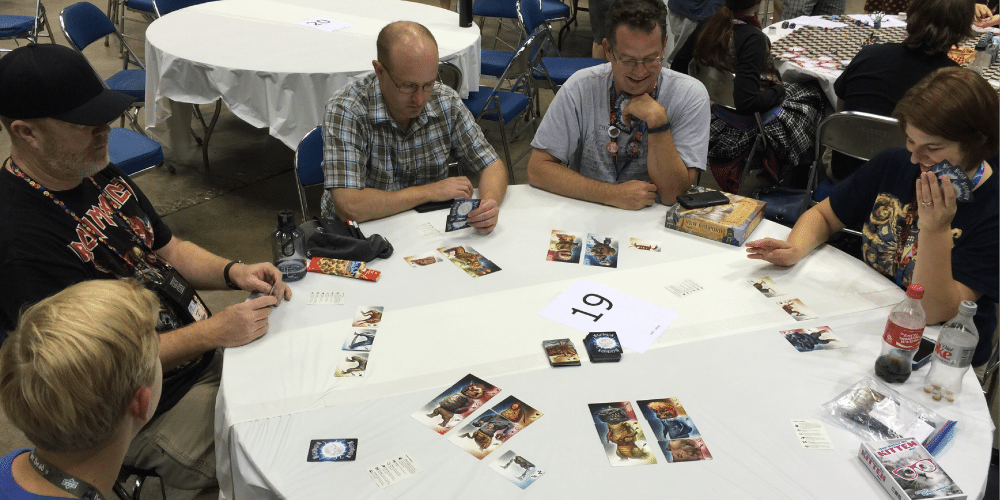GeekDad crew playing Nightmarium, an upcoming Kickstarter. Photo by Gerry Tolbert