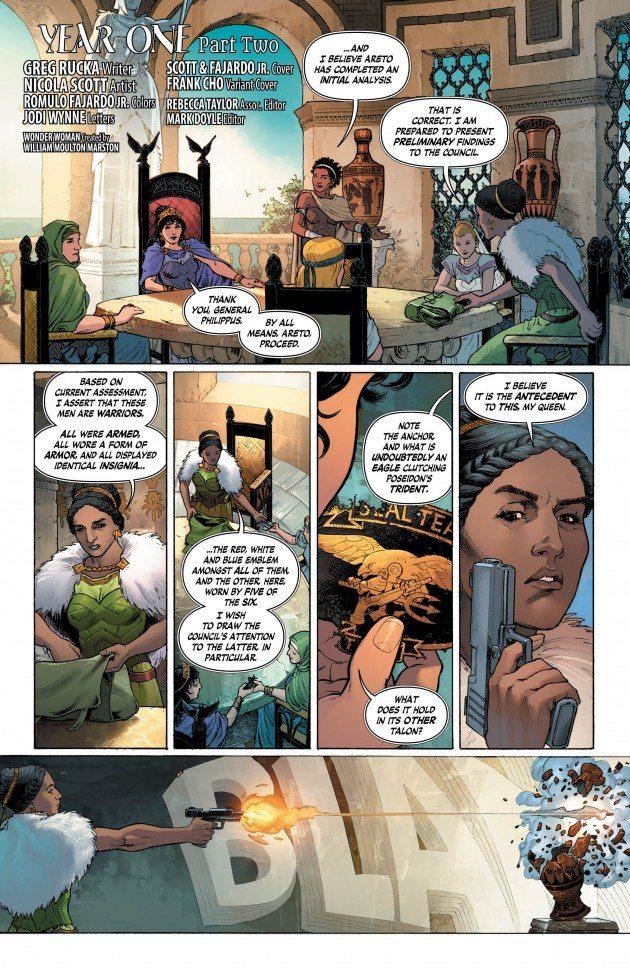 The Amazon Council meets in Wonder Woman #4, copyright DC Comics