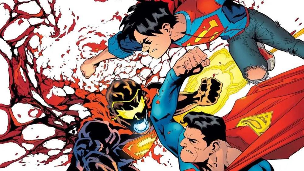 Superman & son take on the Eradicator in issue #4. Image via DC Comics
