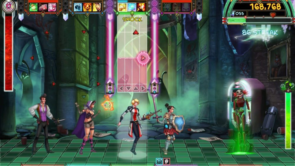 The Labcoat class character has a Shock ready to cast before moving on to a Grin spell in The Metronomicon.