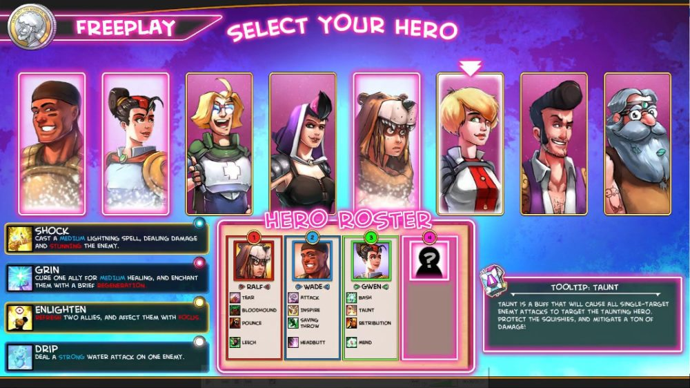 The character select screen for free play mode in 'The Metronomicon' showing the eight classes.