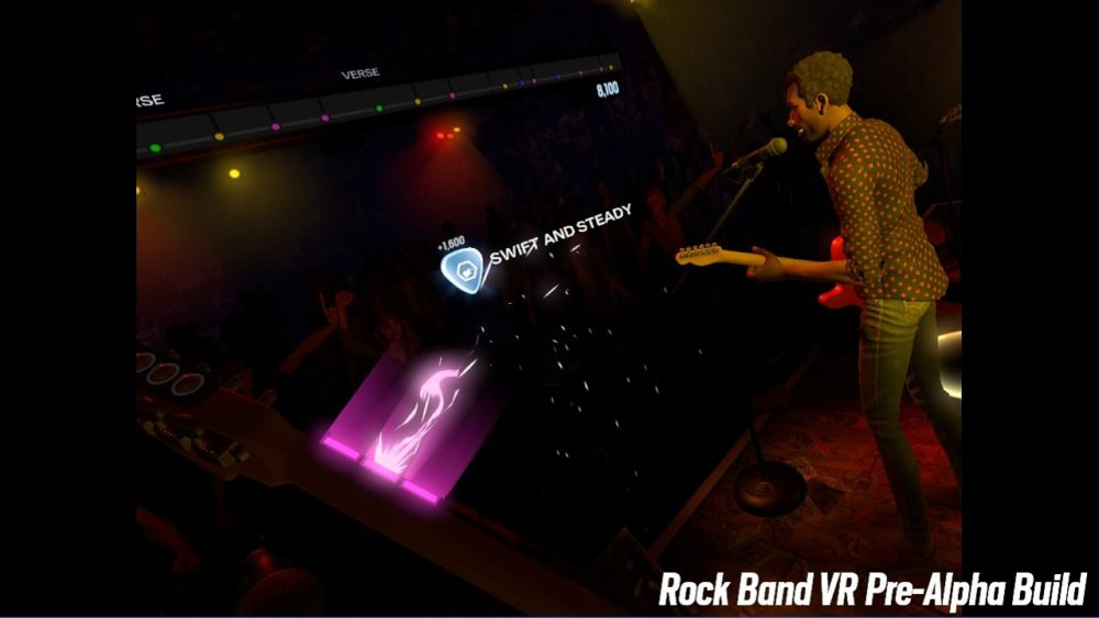 In-headset shot in Rock Band VR showing the song map at the top of the screen; colored dots joined together in a line.