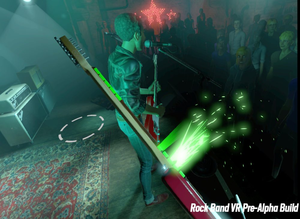 First person view in Rock Band VR, with the guitarist's lower frets emitting green fireworks. A circle on the stage shows a teleport location.