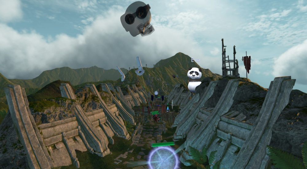 """VReal: A floating head looks down on a valley, aiming Vive controllers to interact with the battlefield. A panda with the name """"Eva"""" stands on one of the slopes, watching the game."""