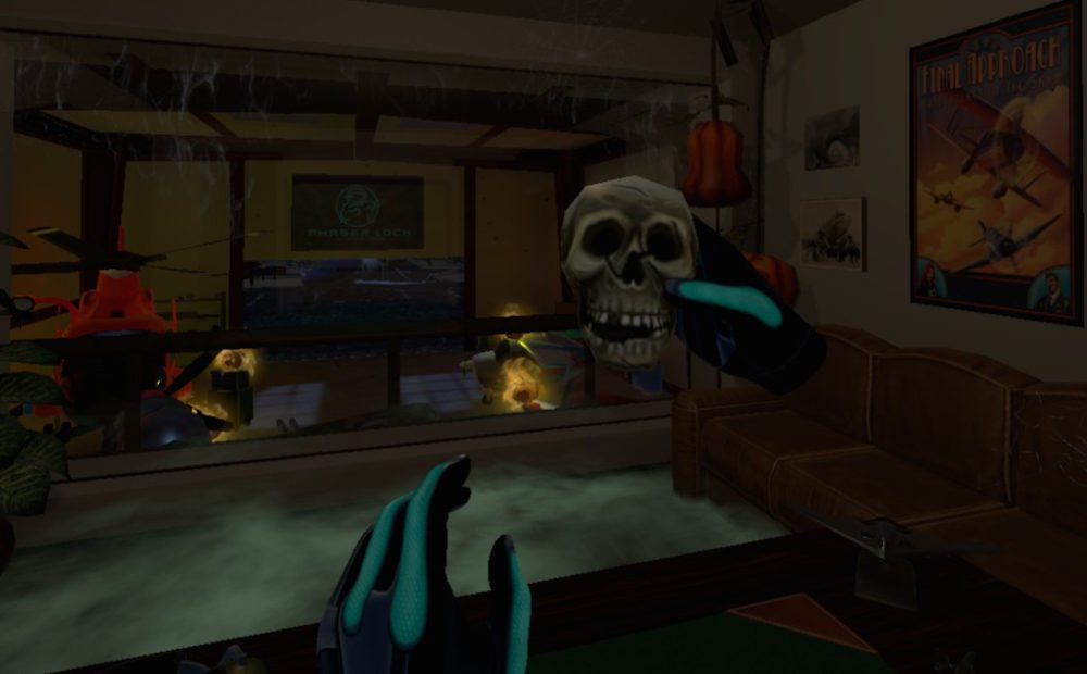 The virtual hands in 'Final Approach' hold a skull in Halloween themed content in the starting office.