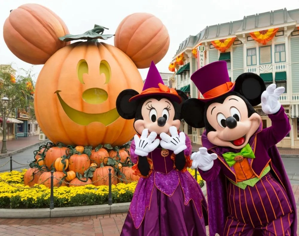 Mickey and Minnie in Disneyland for Halloween