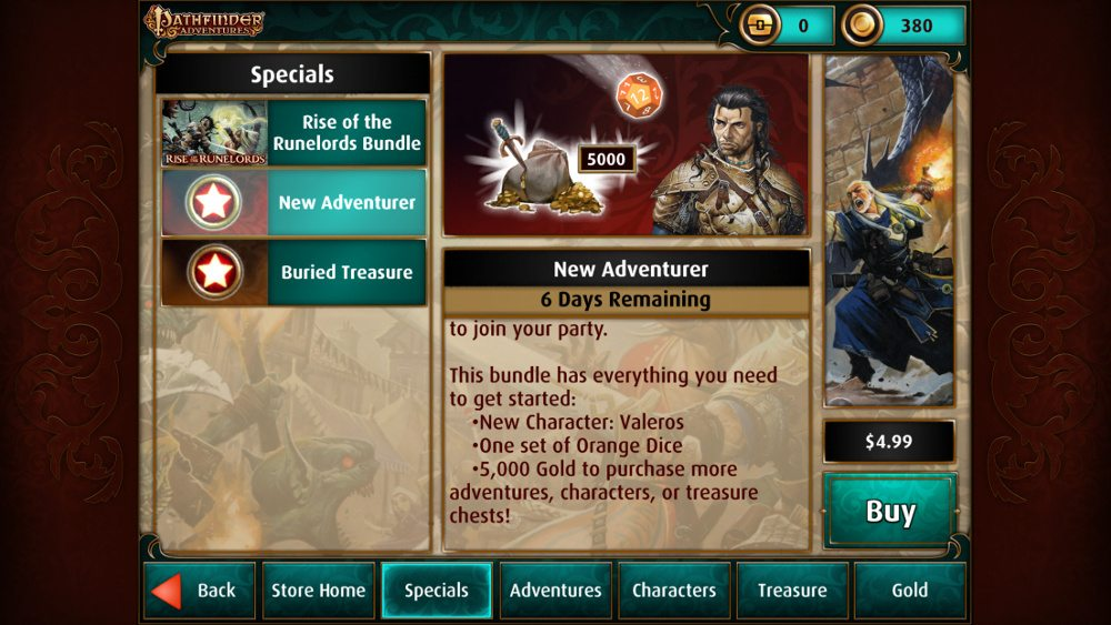 "The Pathfinder Adventures ""New Adventurer"" bundle, showing a price of $4.99."