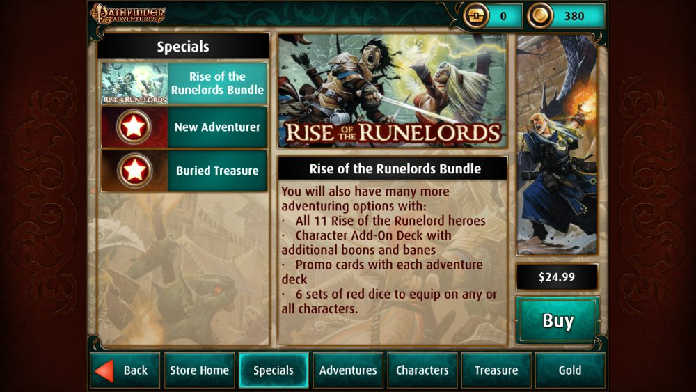 Screenshot from Pathfinder Adventures showing part of the description of the Rise of the Runelords bundle for $24.99