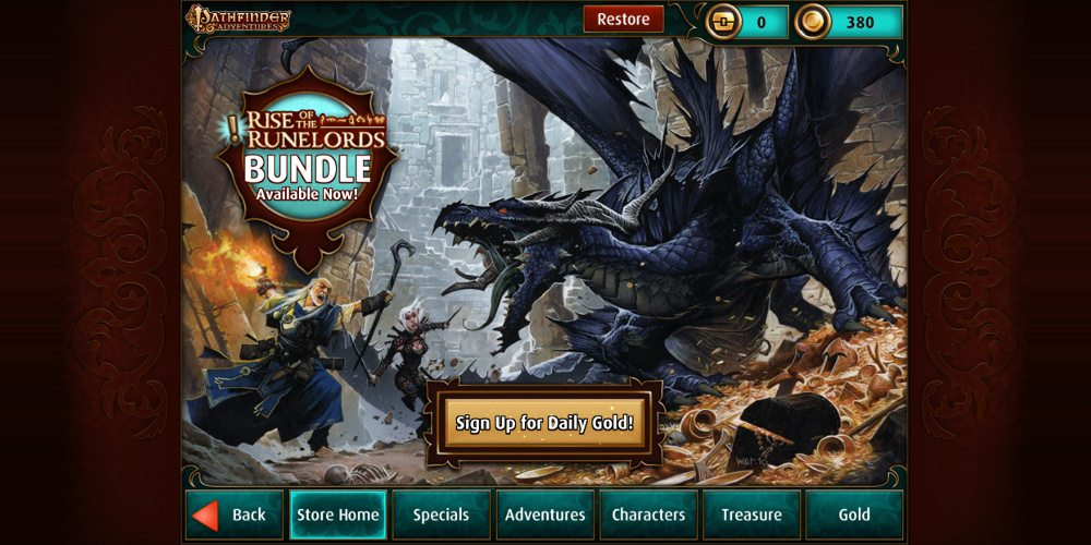 "The main screen of the in-app store showing the tabs: Store Home, Specials, Adventures, Characters, Treasure, and Gold. There is also a lit golden-colored button that says ""Sign up for daily gold"". The background has a wizard and a fighter in combat with a giant blue dragon."