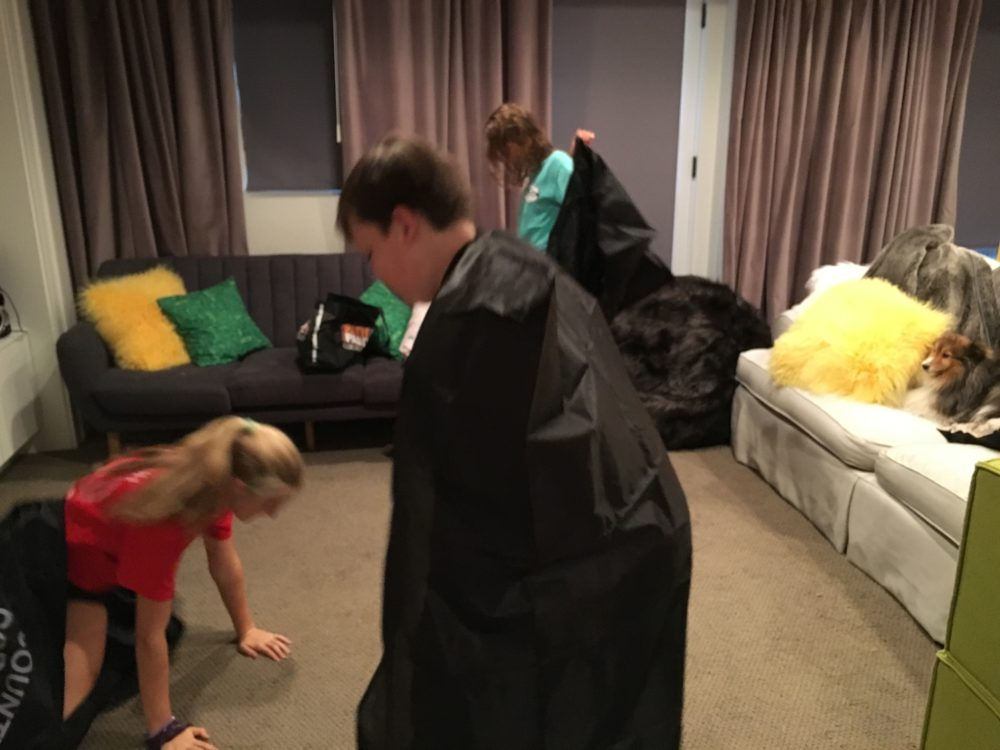 If you are uncomfortable letting kids sleep in body bags -- there are a variety of sack race and tag type games that can be played. Photo via author.
