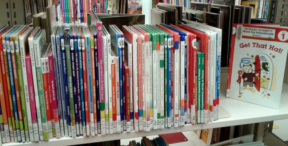 A shelf of leveled Beginning Reader books