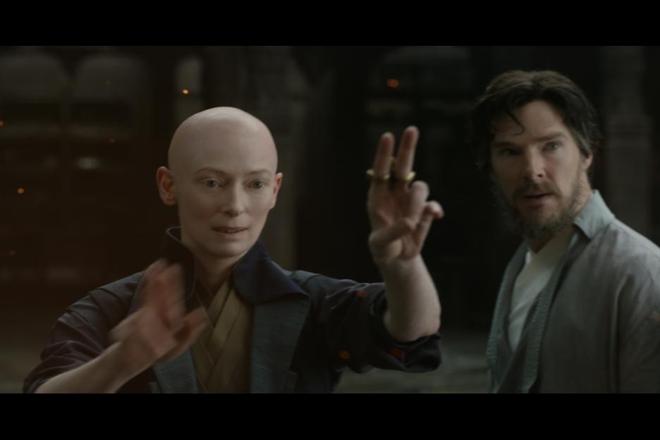 The Ancient One (Tilda Swinton) begins training Stephen Strange (Benedict Cumberbatch) in the mystic arts. Image © Disney