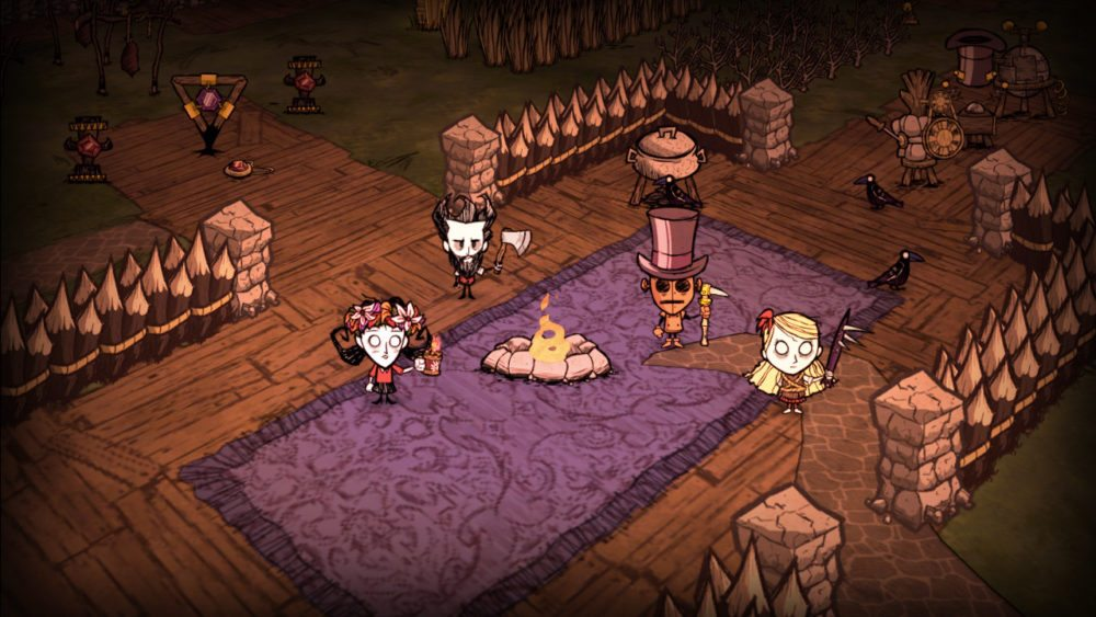 A scene from Don't Starve Together showing a number of characters in a fort around a fire.