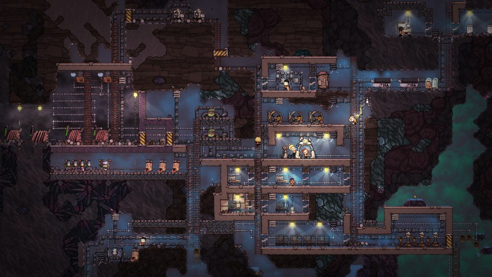The ant-farm view of a thriving colony in 'Oxygen Not Included'.