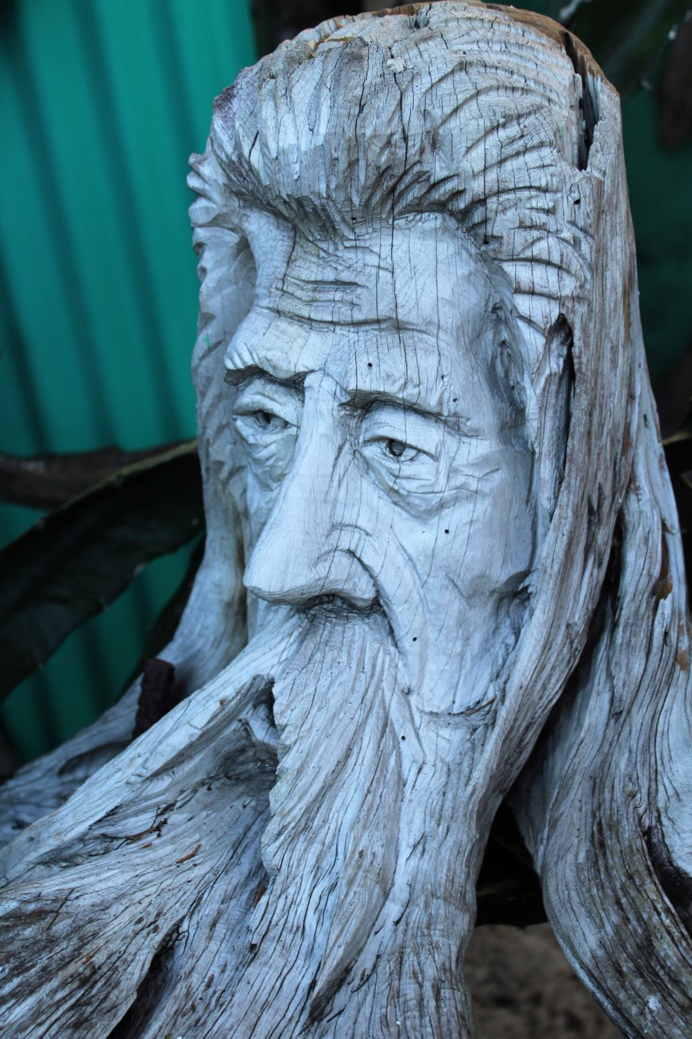 Peter also carves amazing wizards and curious creatures, working with the shape of the driftwood.