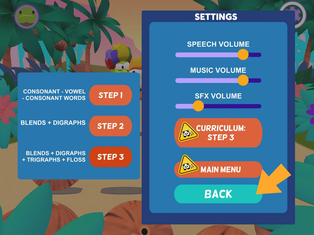Square Panda Bowling app settings