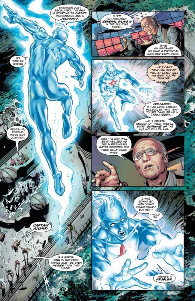 page from Fall and Rise of Captain Atom, image via DC Comics