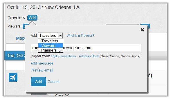 Sharing Tripit Itinerary