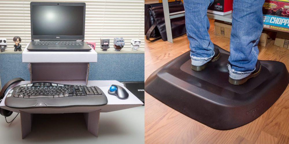 GeekDad Review: ErgoDriven 'Topo' Standing Mat and 'Spark' $20 Standing Desk