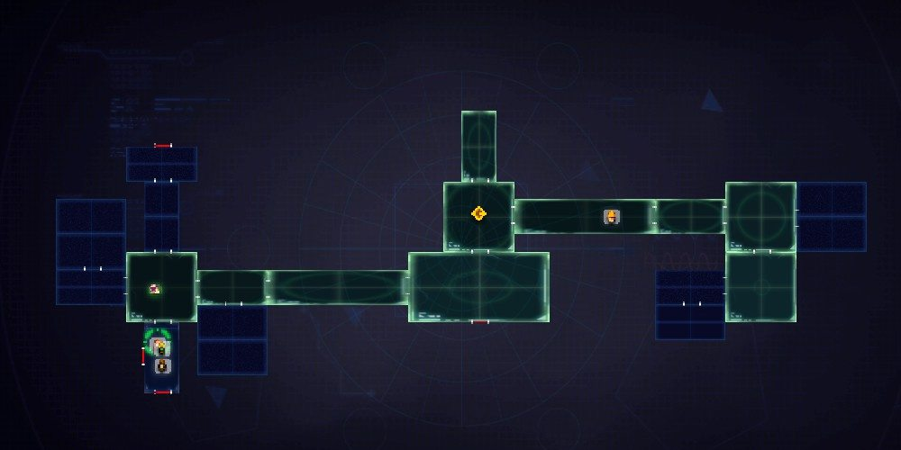 The zoomed-out strategic view in Dungeon of the Endless. This shot shows a number of unpowered rooms, with no available dust to power them.