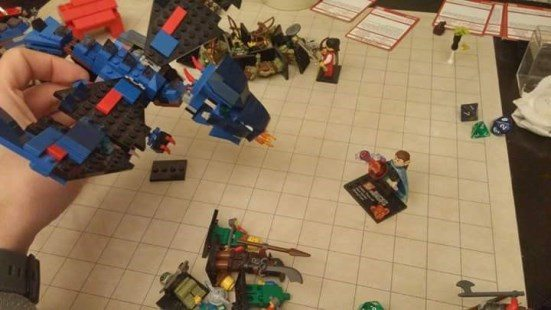 LEGO dragon attacks wizard